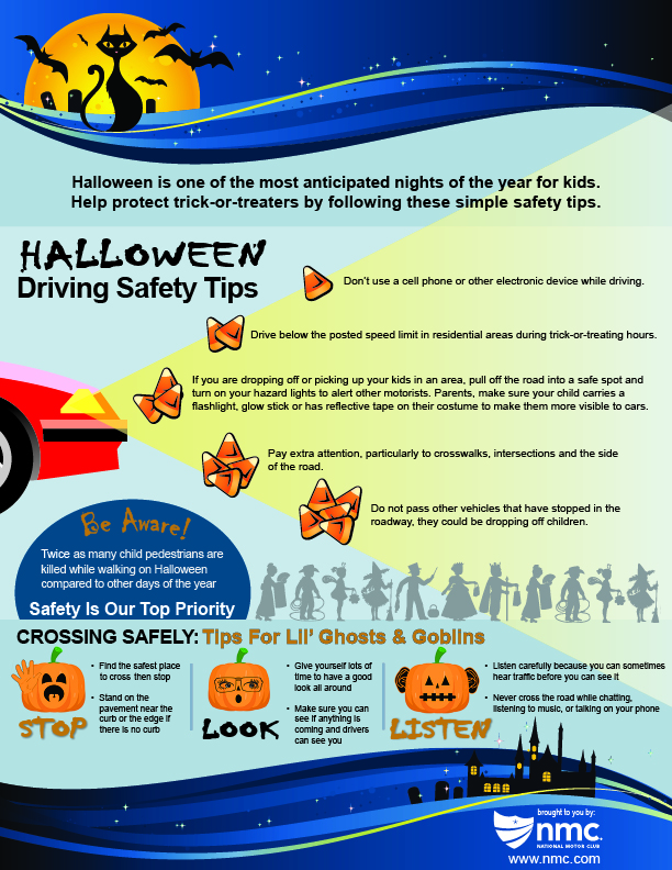 Halloween safety tips infographic nmc news for Nmc national motor club